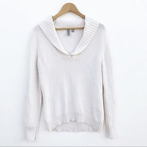 Caslon Cream V-Neck Knitted Sweater Size L